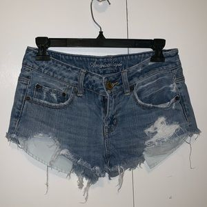 American Eagle Cutoff Destroyed Denim Shorts